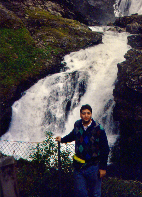 Me next to Kjosfossen, Norway, a waterfall on the way of the Flåmsbana (1994)