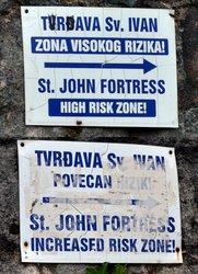 Danger signs at Kotor Fortress