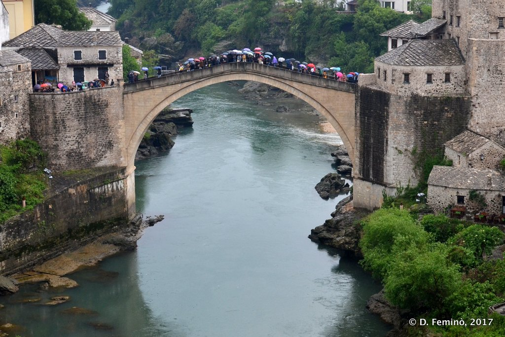 Mostar, Bosnia, Old bridge in the rain