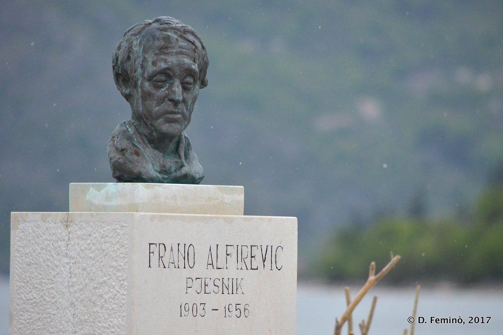 Perast, Montenegro, Monument in the rain