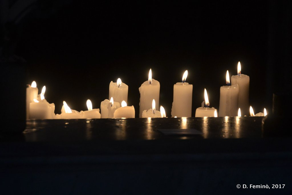 Perast, Montenegro, Candles in church of our lady of the rock