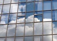 Clouds on court windows