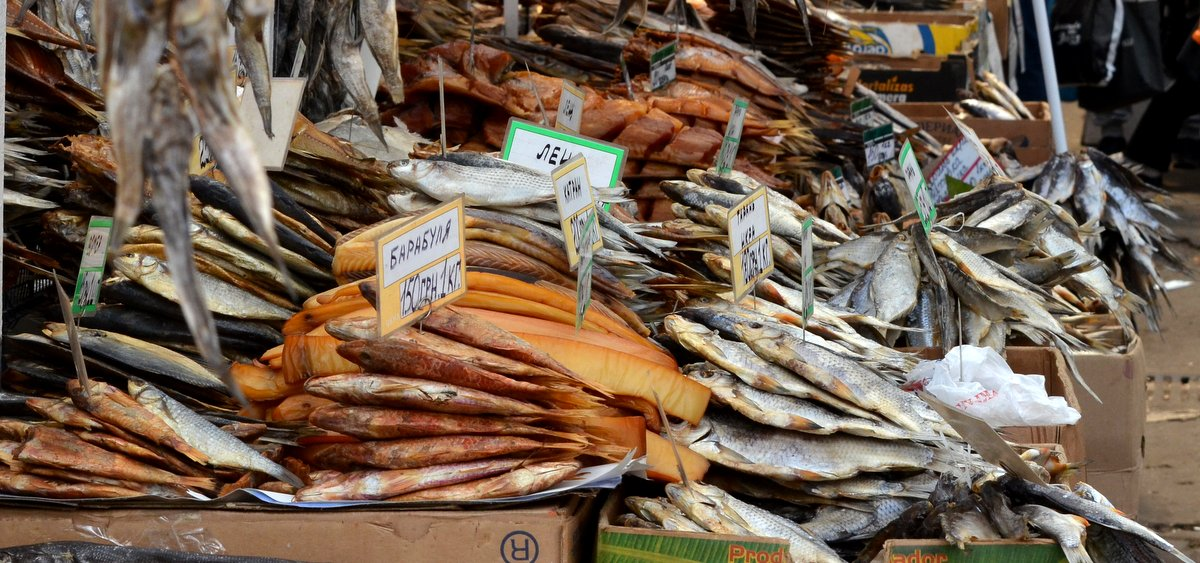 Dry fish at Privoz market
