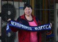 Vendor of Chernomorets football team stuff