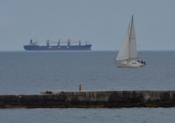 Sailboat and ship in Odessa