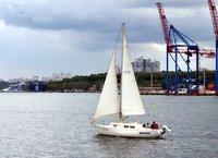 Sailboat on the black sea
