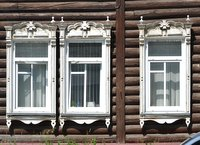 Windows of a wooden house