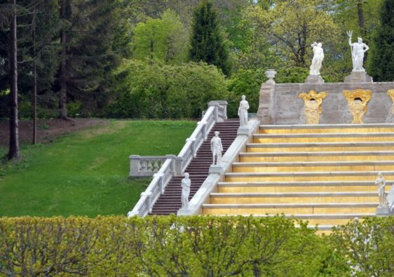 Golden stairs in Peterhof