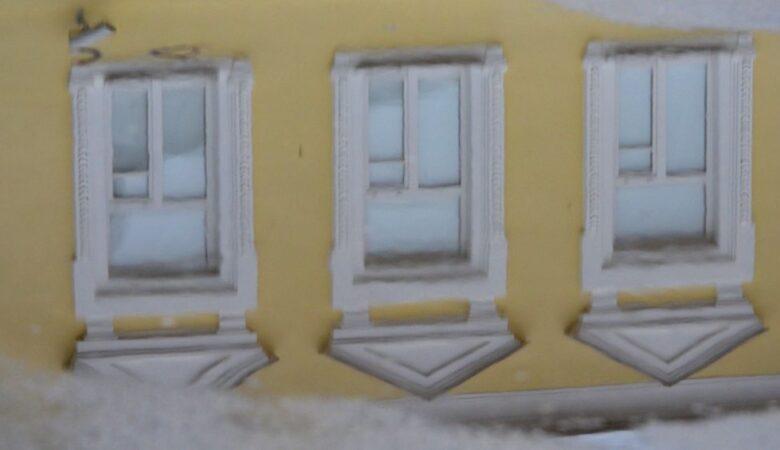 Windows reflection in the rain