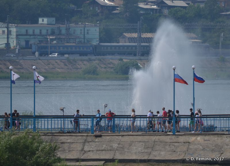 Fountain in river Angara (Irkutsk, Russia, 2017)
