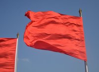 Red flags over Tiananmen tower