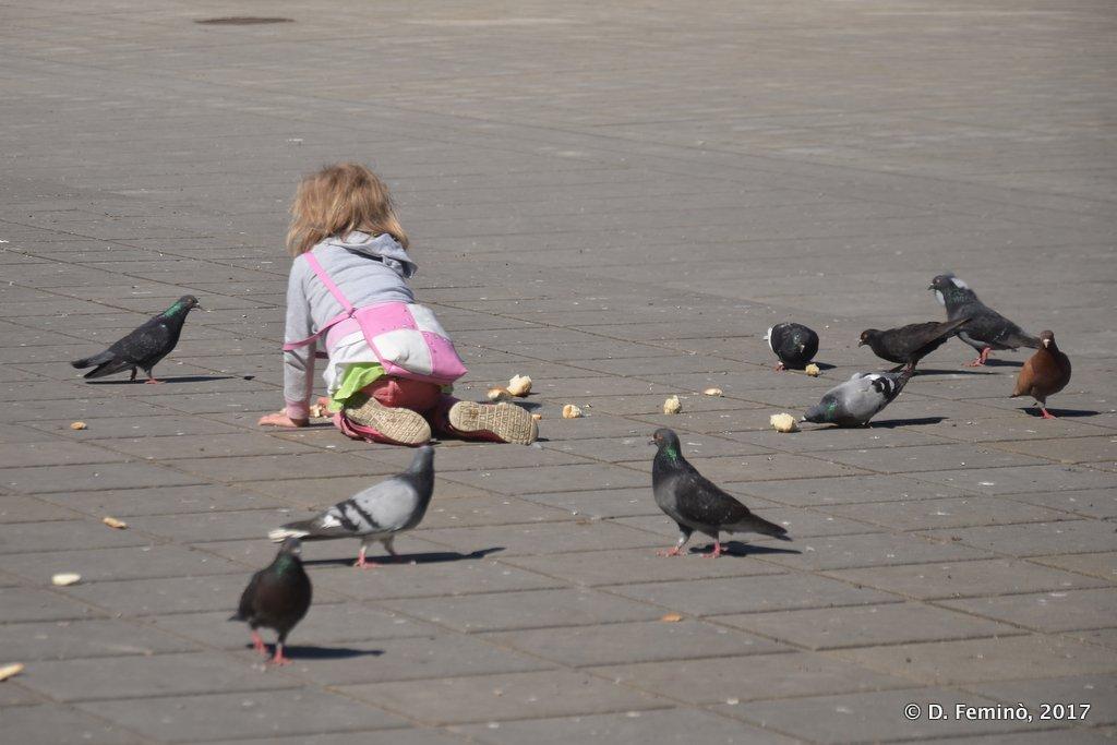Chișinau, Moldova, Little girl playing in Parcul Catedralei