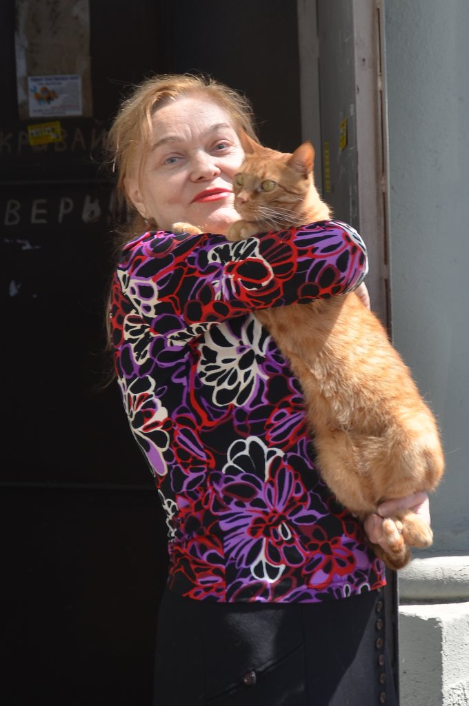 Odessa, Russian lady with a big red cat