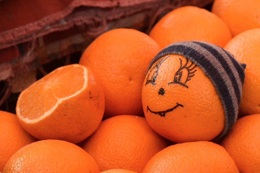 Odessa, Orange is a winter fruit so it needs a winter hat...