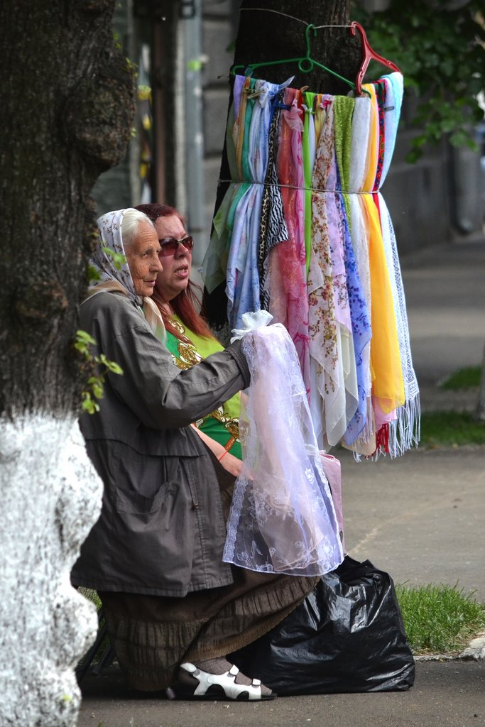 Kiev, Old ladies selling scarves near Pechersk monastery