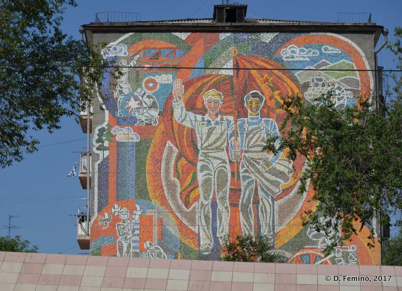 Soviet style mosaic (Ulan Ude, Russia, 2017)