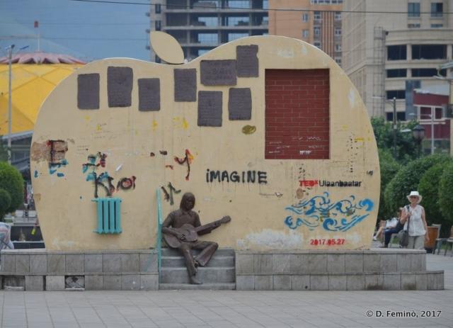 Back of Beatles monument (Ulaanbaatar, Mongolia, 2017)