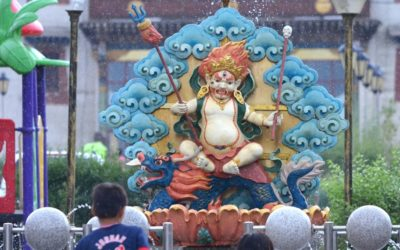 Deity statue in the rain