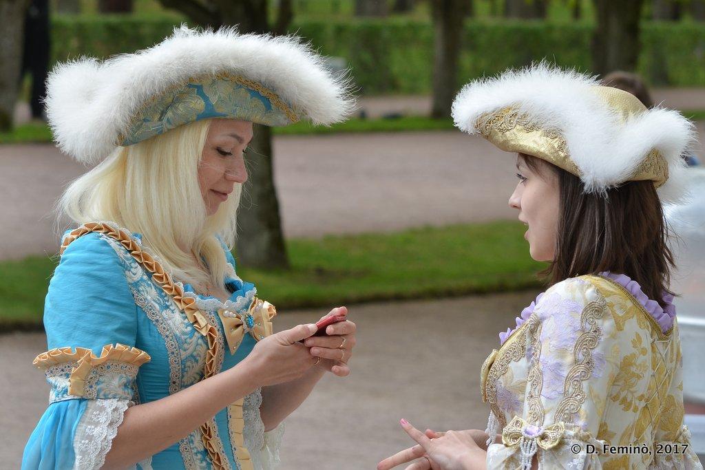 Peterhof, Ladies in old costumes