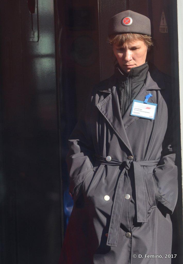 Krasnoufimsk, a break for a Trans-Siberian train conductor