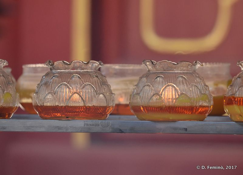 Oil lamps in a temple