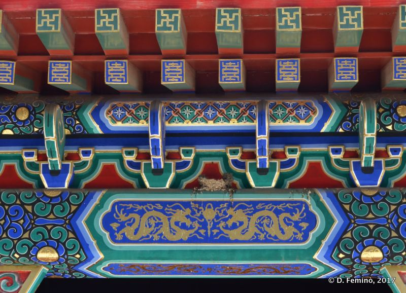 Colourful decorations in a buddhist temple