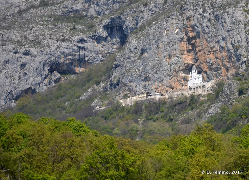 Upper monastery from the valley (Ostrog, Montenegro, 2017)