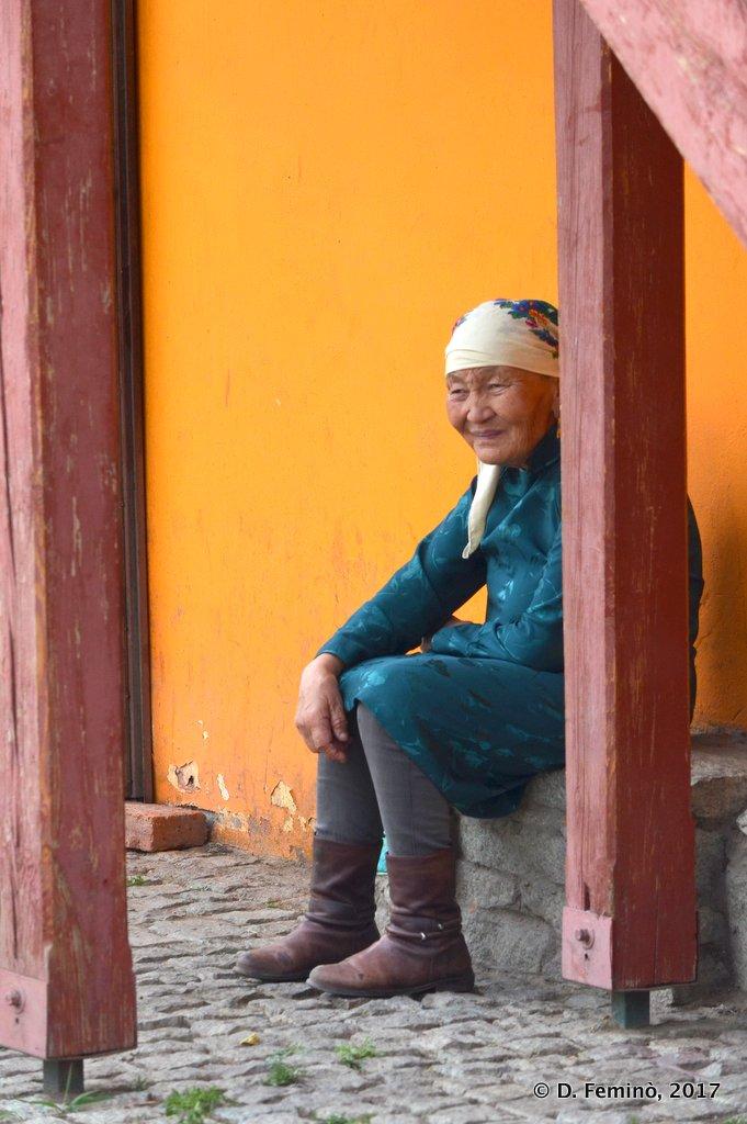 An old lady in Gandan Khiid monastery, Ulaanbaatar