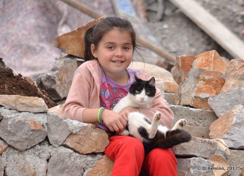 Little girl and her cat (Lake Skadar, Albania, 2017)