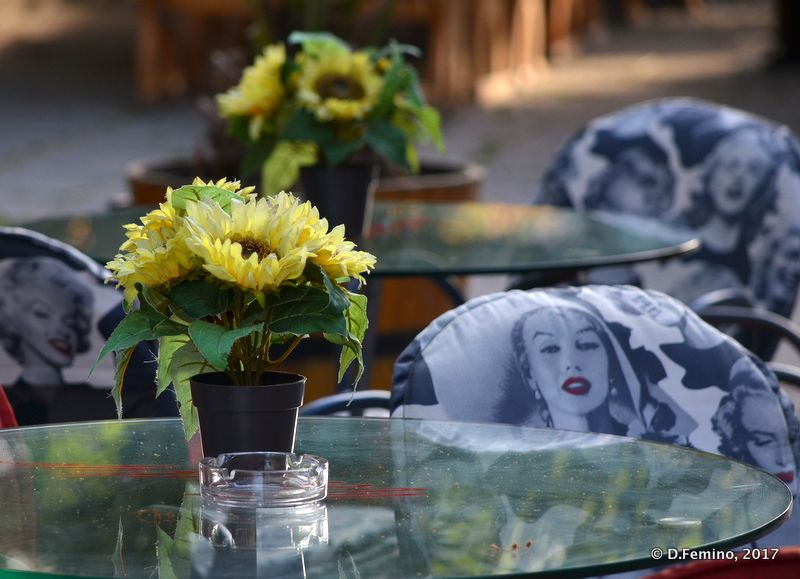 Flower and cafe tables (Burgas, Bulgaria, 2017)