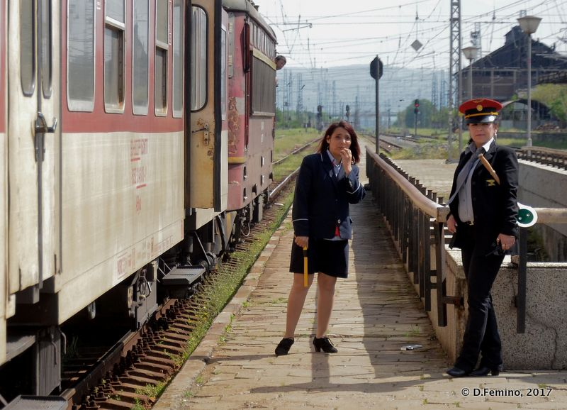 Stationmaster and her assistant (Karnobat, Bulgaria, 2017)