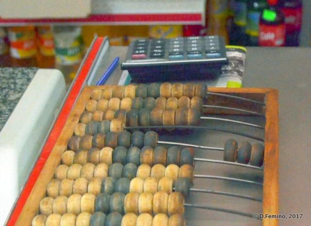 Abacus and pocket calculator (Butuceny, Moldova, 2017)