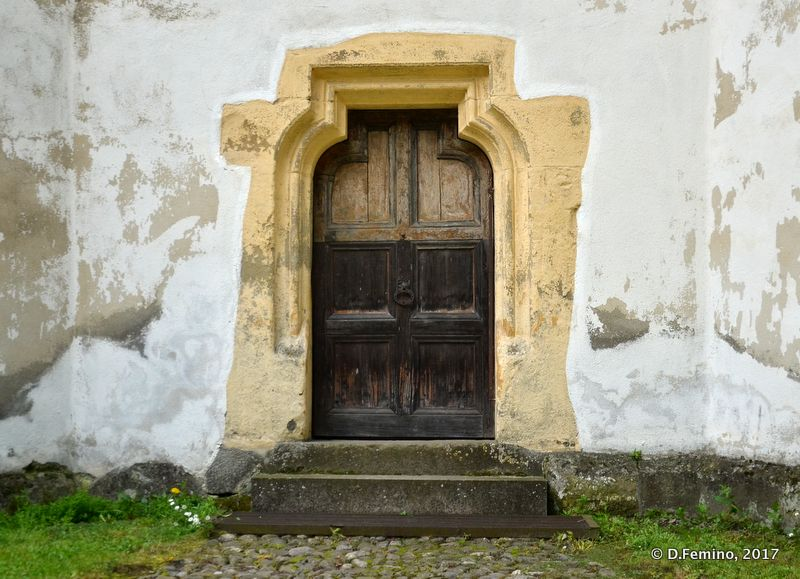 Elegant door in fortified church (Prejmer, Romania, 2017)