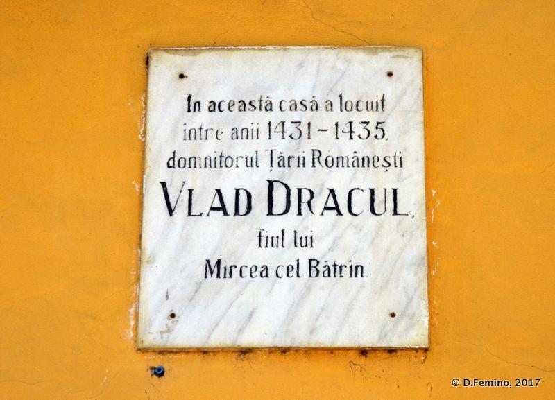 Plate in the Dracula house (Sighișoara, Romania, 2017)