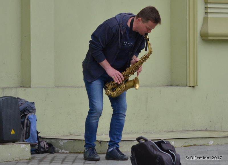Busker playing sax (Odessa, Ukraine, 2017)