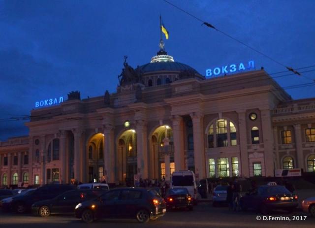 Railway station at night (Odessa, Ukraine, 2017)