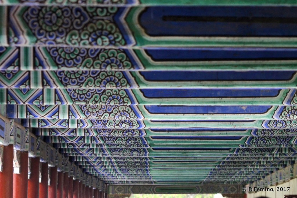 Wonderful roof in long corridor in Tiantan park