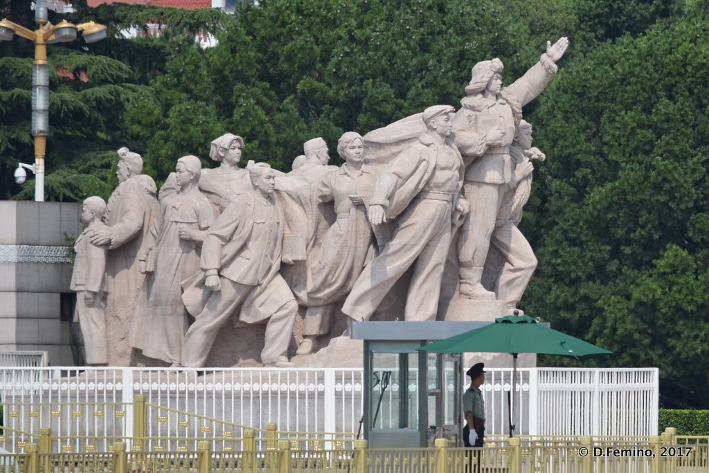 Workers monument in front of Mao's mausoleum