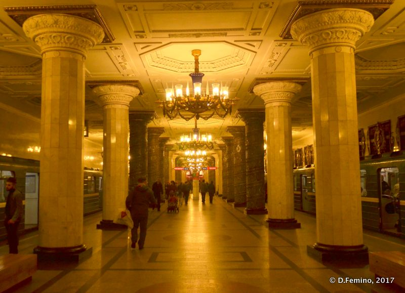 Sophisticated interiors in the metro (Saint Petersburg, Russia, 2017)