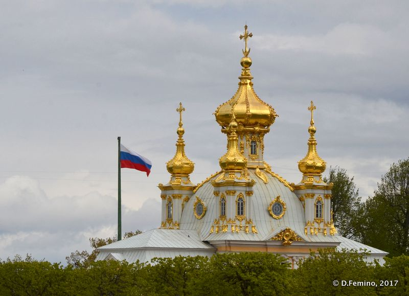 Golden domes of Orthodox Church (Peterhof, Russia, 2017)