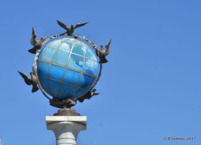 World globe and doves monument (Kiev, Ukraine, 2017)