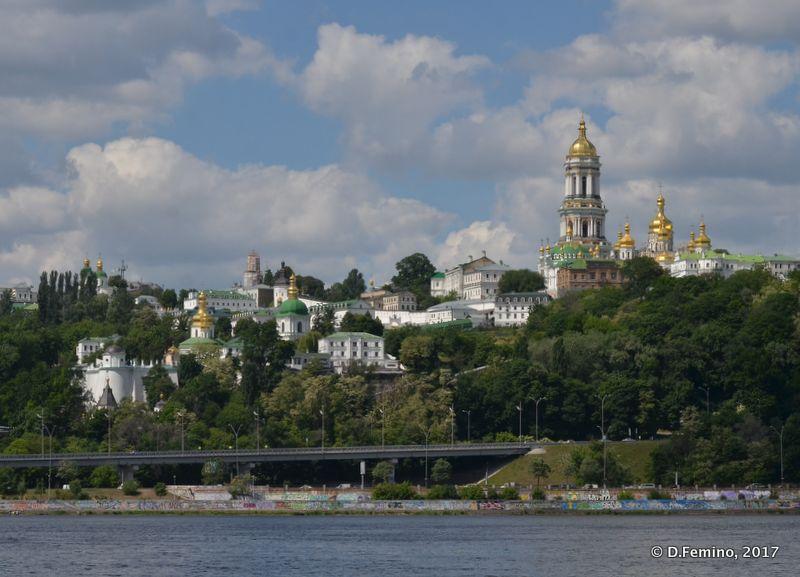Pechersk monastery and river Dnieper (Kiev, Ukraine, 2017)