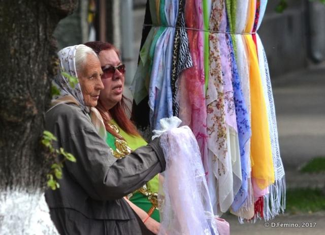 Selling silk by the monastery (Kiev, Ukraine, 2017)