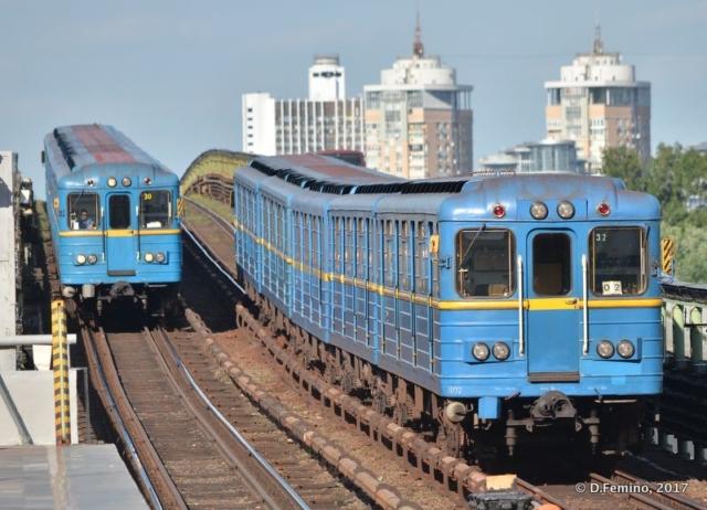 Trains on metro bridge (Kiev, Ukraine, 2017)