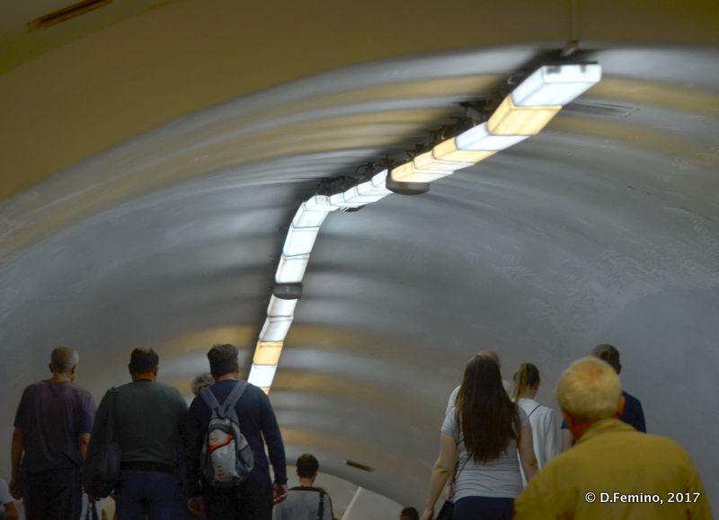 Pedestrian tunnel in a metro station (Kiev, Ukraine, 2017)