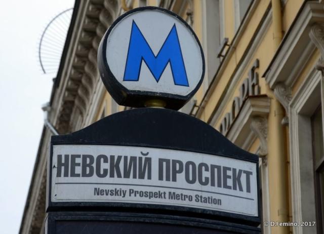 Nevsky prospekt metro sign (Saint Petersburg, Russia, 2017)