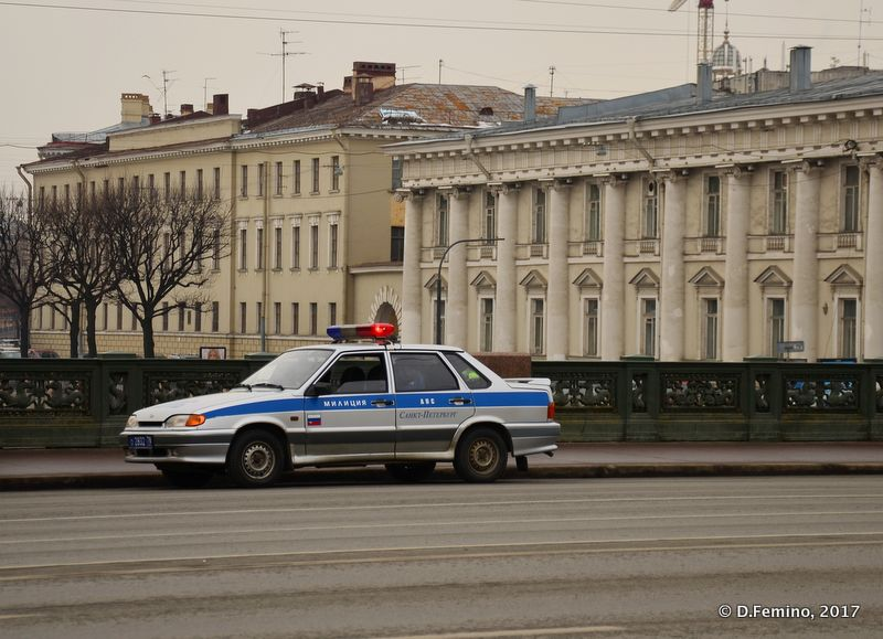 Police car on a bridge (Saint Petersburg, Russia, 2011)