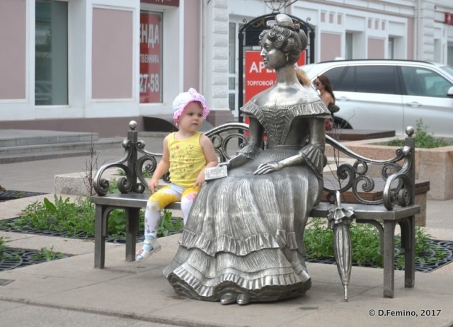 The iron lady and the little girl (Omsk, Russia, 2017)