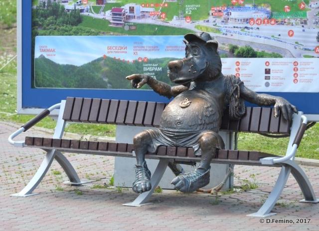 Resting dog in Stolby resort (Krasnoyarsk, Russia, 2017)