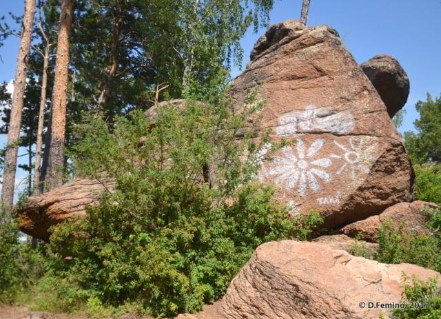 Painted rock in Stolby reserve (Krasnoyarsk, Russia, 2017)